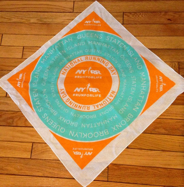 The 2015 NYRR National Running day bandana.  Price = a run to go get one.