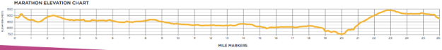 The Twin Cities Marathon elevation chart.