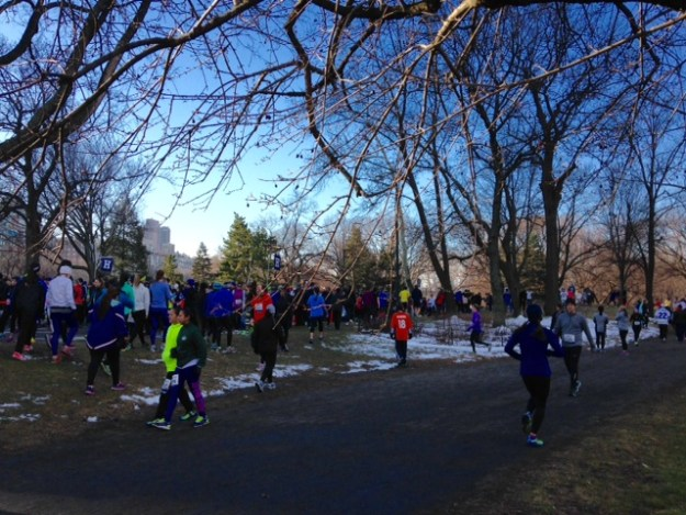Before the start of the NYRR Gridiron 4-miler.