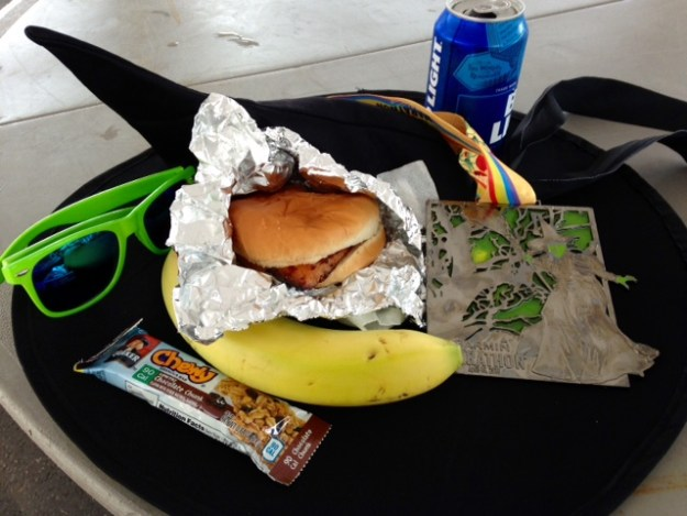 The finisher food and medal!