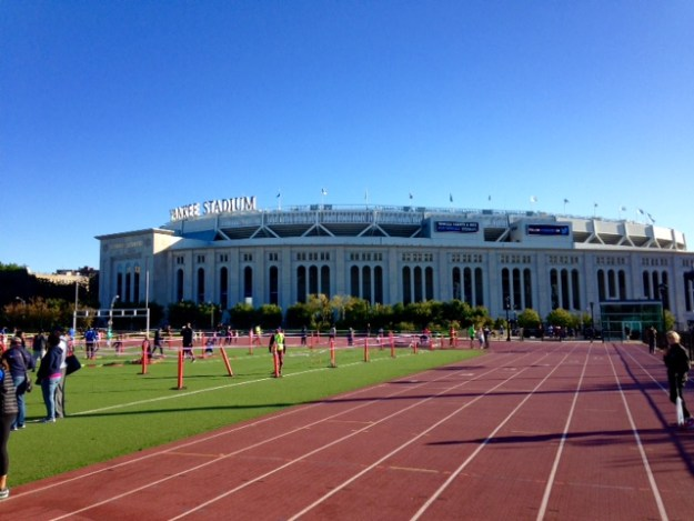 The finish area of the NYRR Bronx 5K leads to this track in the shadow of Yankee Stadium.
