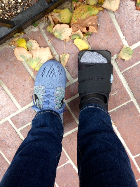 My stylish new footwear, fall leaves for time reference.