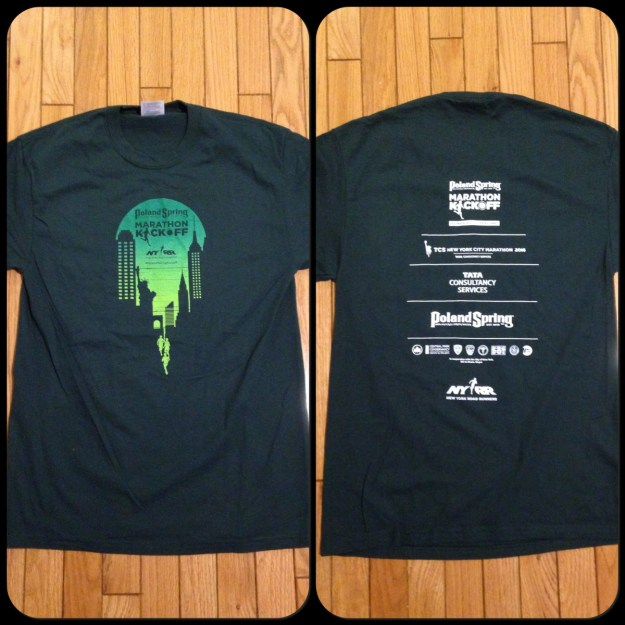 Front and back of the Poland Spring Marathon Kickoff shirt - it's a 50/50 cotton poly short sleeve unisex cut. Meh.