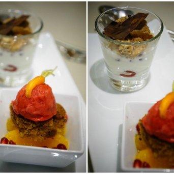 jogurt • owoce • musli • czekolada oraz ciastko marchewkowe • malina • pomarańcza • granat