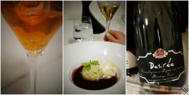 Mus z mascarpone z sosem śliwkowym i lodami pistacjowymi + Desiree (50% Chardonnay, 35% Rumeni (żółty) plavec, 15% Laški riezling); półwytrawne, wino o pełnym smaku i szczególnej nucie, które nadaje mu naturalny aromat brzoskwiniowy