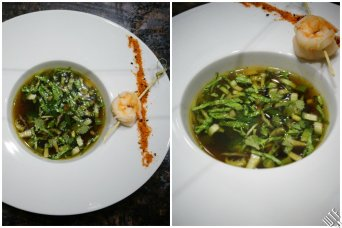 rosół orientalny krewetki • trawa cytrynowa • olej sezamowy • warzywa