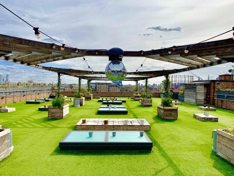 Netil 360 Rooftop bar and lounge. Glitter ball