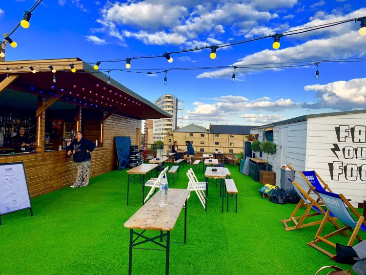 Dalston Rooftop bar deck chairs