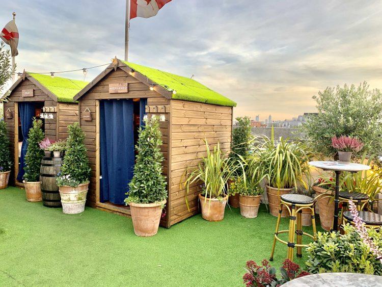 Selfridges rooftop restaurant in Bond Street London  - potting sheds