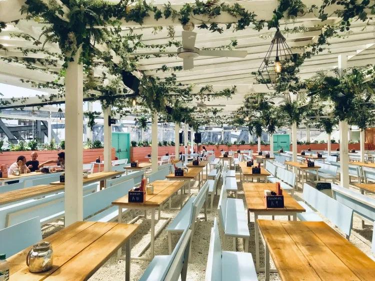 Pergola pretty green rooftop bar