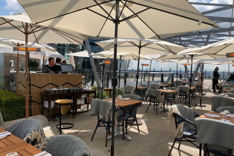 14 Hills rooftop restaurant views of the shard, city, st Pauls