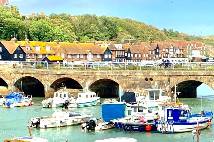 Folkestone village and harbour boat views