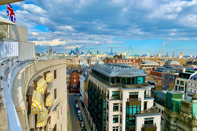 Dorchester rooftop bar views of St Pails, The  shard, Houses of Parliament