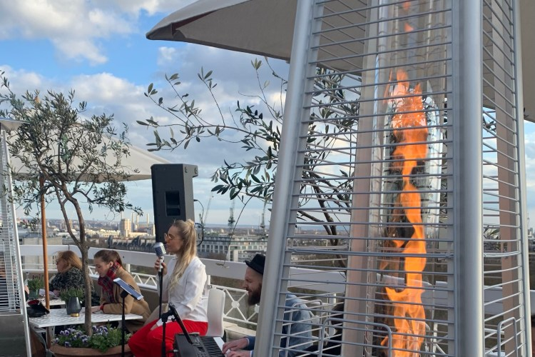 Dorchester rooftop bar music on the terrace