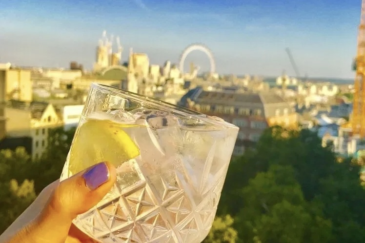 Gin glass with the london eye in the background