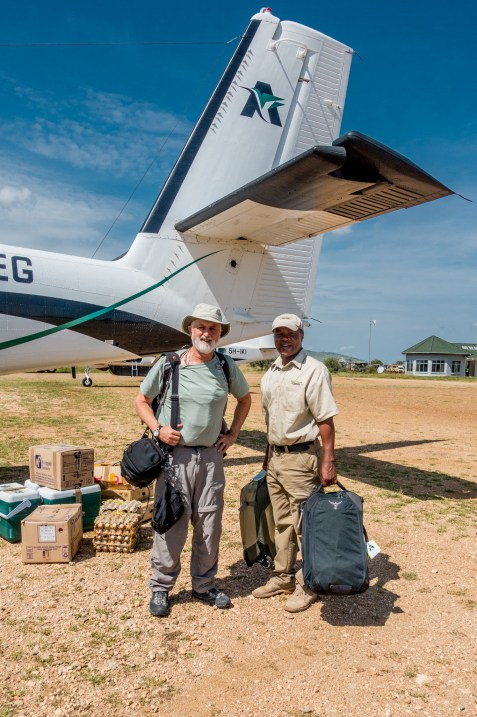 Treve and David at the Seronera Air Strip