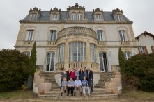 outside the chateau on a grey day