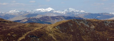 Looking west to the Munros of Stob Binnein and Ben More