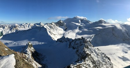 View of Wildspitze, Austria's 2nd highest peak, from the top of Pitztal