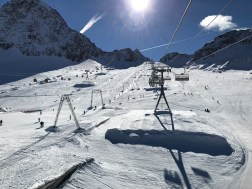 """Three separate lifts over the Eisjochferner slope, the """"main drag"""" of early-season glacier skiing at Stubai, October 2016"""