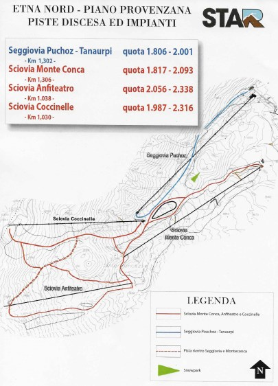 Etna Nord trail map