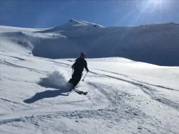 Doug skiing Sealggačohkka