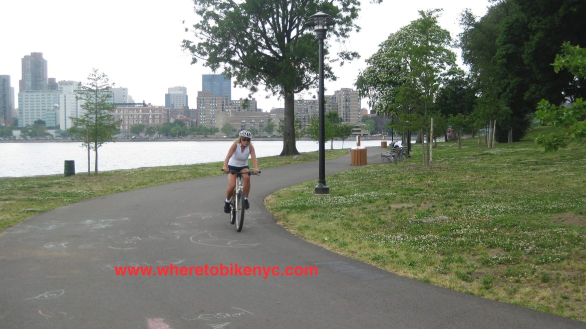 Riding Randalls Island with the upper east side of Manhattan in the background.