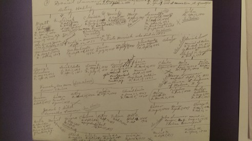 Handwritten family tree research notes