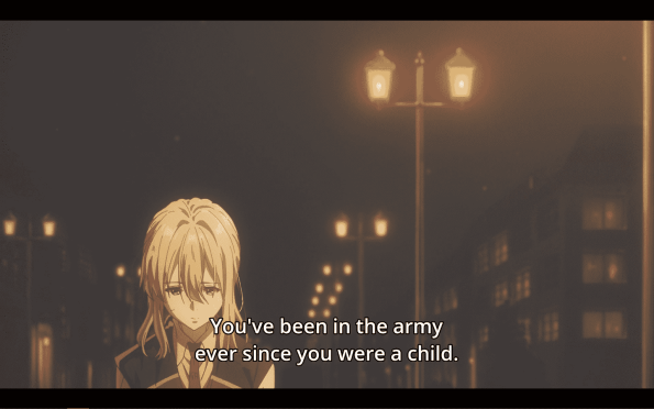 Violet Evergarden Season 1 Episode 1 [Series Premiere] - It being noted Violet was in the army since she was a child