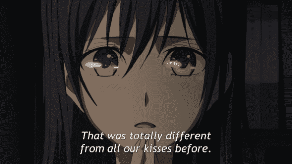 Mei surprised that her latest kiss with Yuzu feels different.
