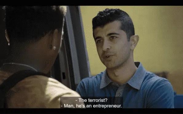 Emmett referring to Amir's cousin as a terrorist.