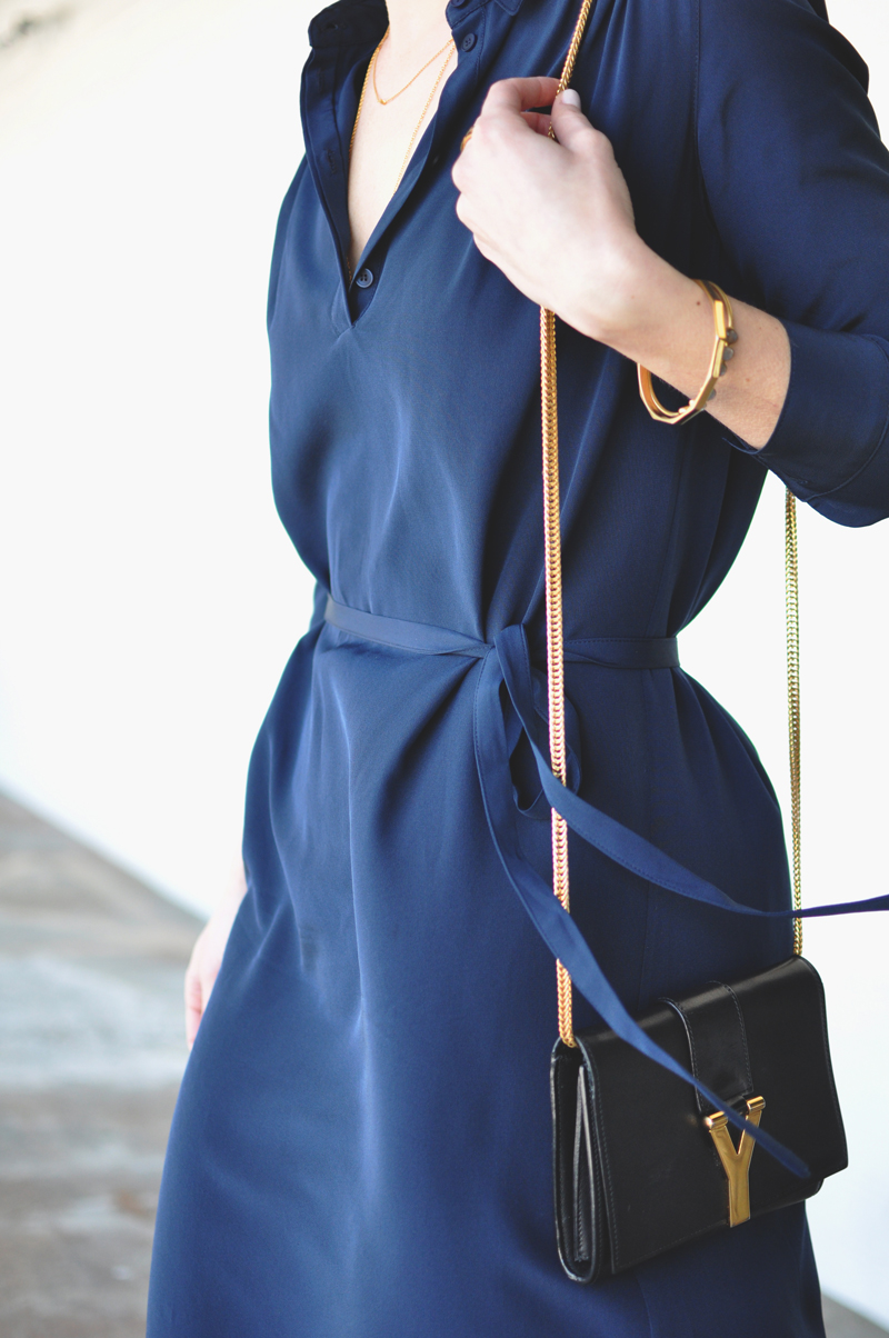 Cuyana Gathered Silk Shirtdress Size Fit Review Navy Blue