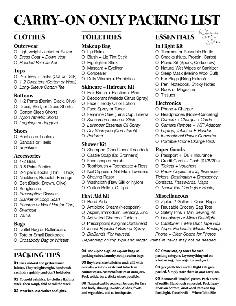image relating to Printable Packing List called A Gentle Packing Listing in the direction of Push Anyplace with a Convey-Upon