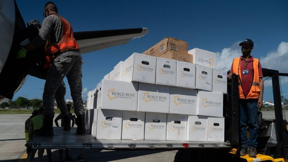 Supplies arriving at St. Vincent