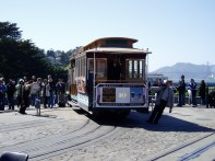 Turning the cable car around by hand - one guy pushing, one guy pulling!
