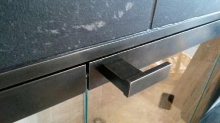 bi-fold fireplace doors and handle