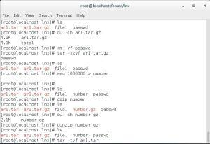 Linux file compression