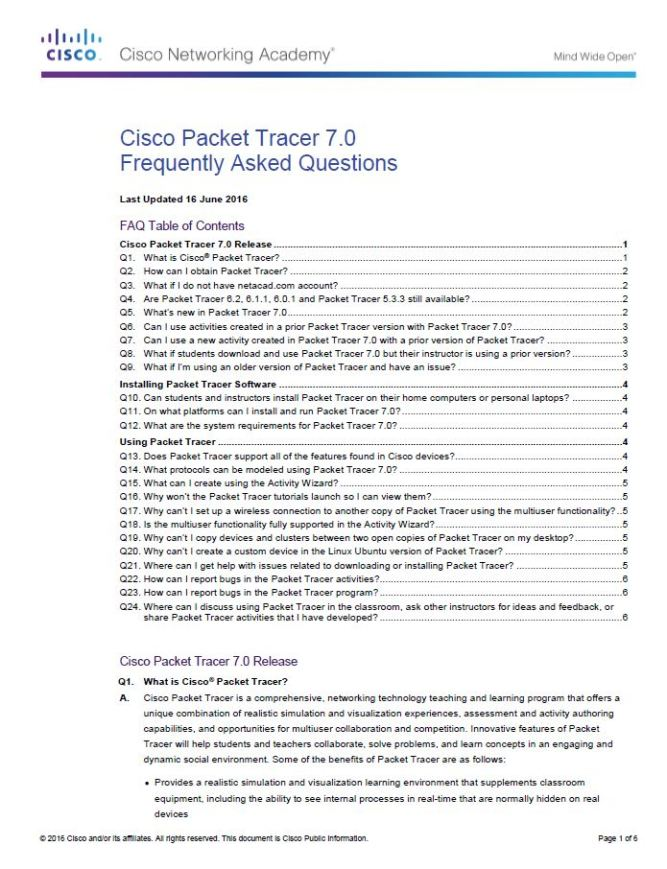 Cisco Packet Tracer 7 FAQ