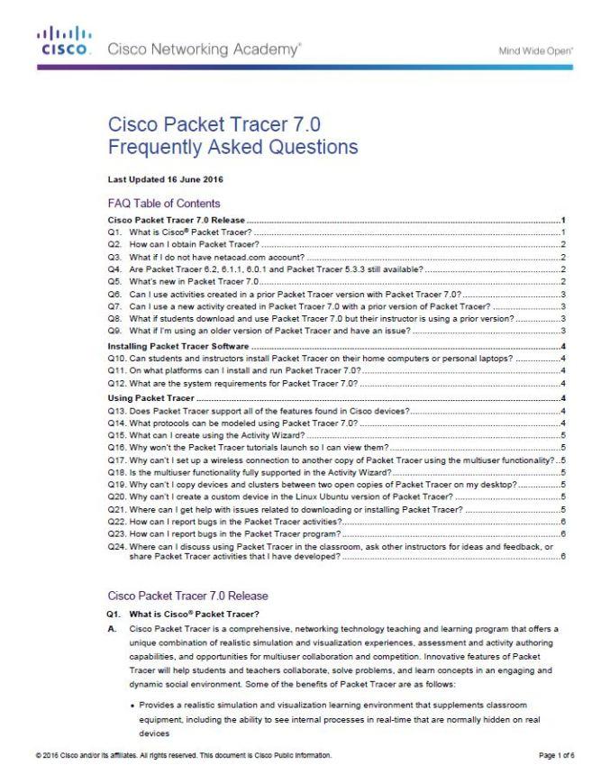 Cisco Packet Tracer 7 FAQ