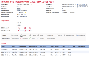 a sample event from the Cisco FirePOWER Next-Generation Firewall device
