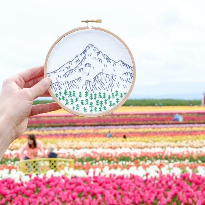 Mt Hood embroidery kit