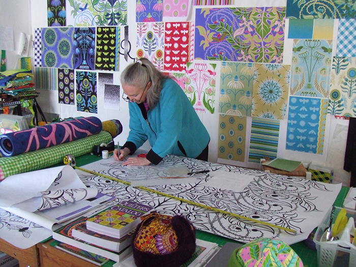 Jane Sassaman in her Studio