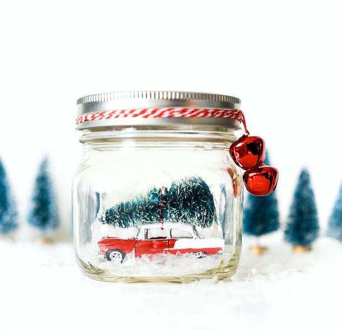 car in mason jar ornament