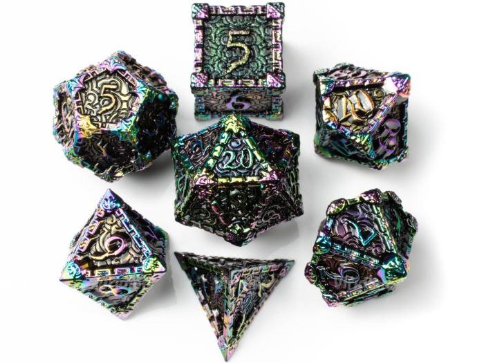 shiny, metal, dnd dice set