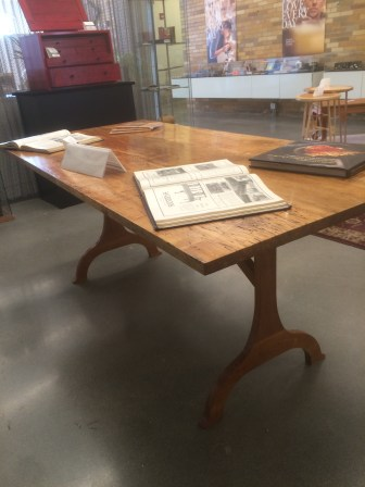 """Trestle table with """"character"""" wood top"""