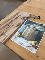 Character wood, inspirational photo, and dividers to gauge the scal.