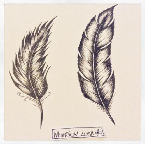 I couldn't quite decide which feather I liked best so I asked for the help of my followers on social media. They chose the one on the right, which now appears on Baxter's plaque.