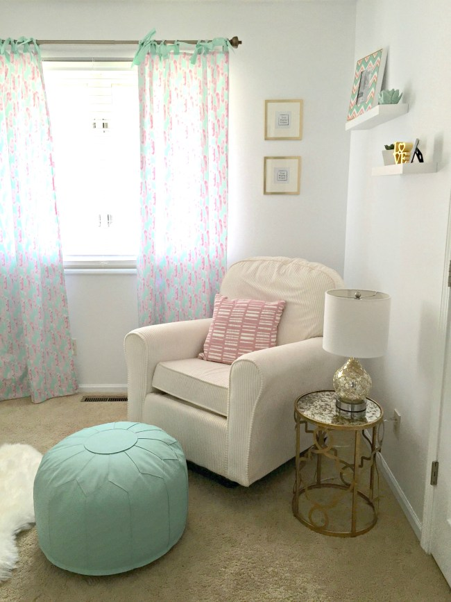 Mint Pink and Gold Nursery Corner