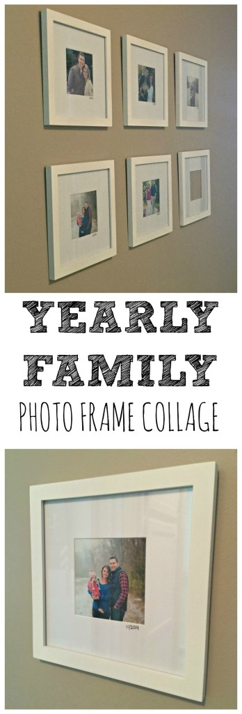 Hallway Decor: Which frames to buy, which pictures to print, and more! I wanted to start a small photo wall with pictures of our growing family from every year that we've been married (2011). We've had professional photos taken three out of the last five falls/winters, so I decided to pick a favorite picture from each end of the year and frame them all together.