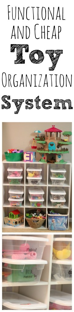 This toy organization system uses $1 buckets and teaches small children to clean up before taking out a new toy. It's sanity-saving and can be done in two hours!